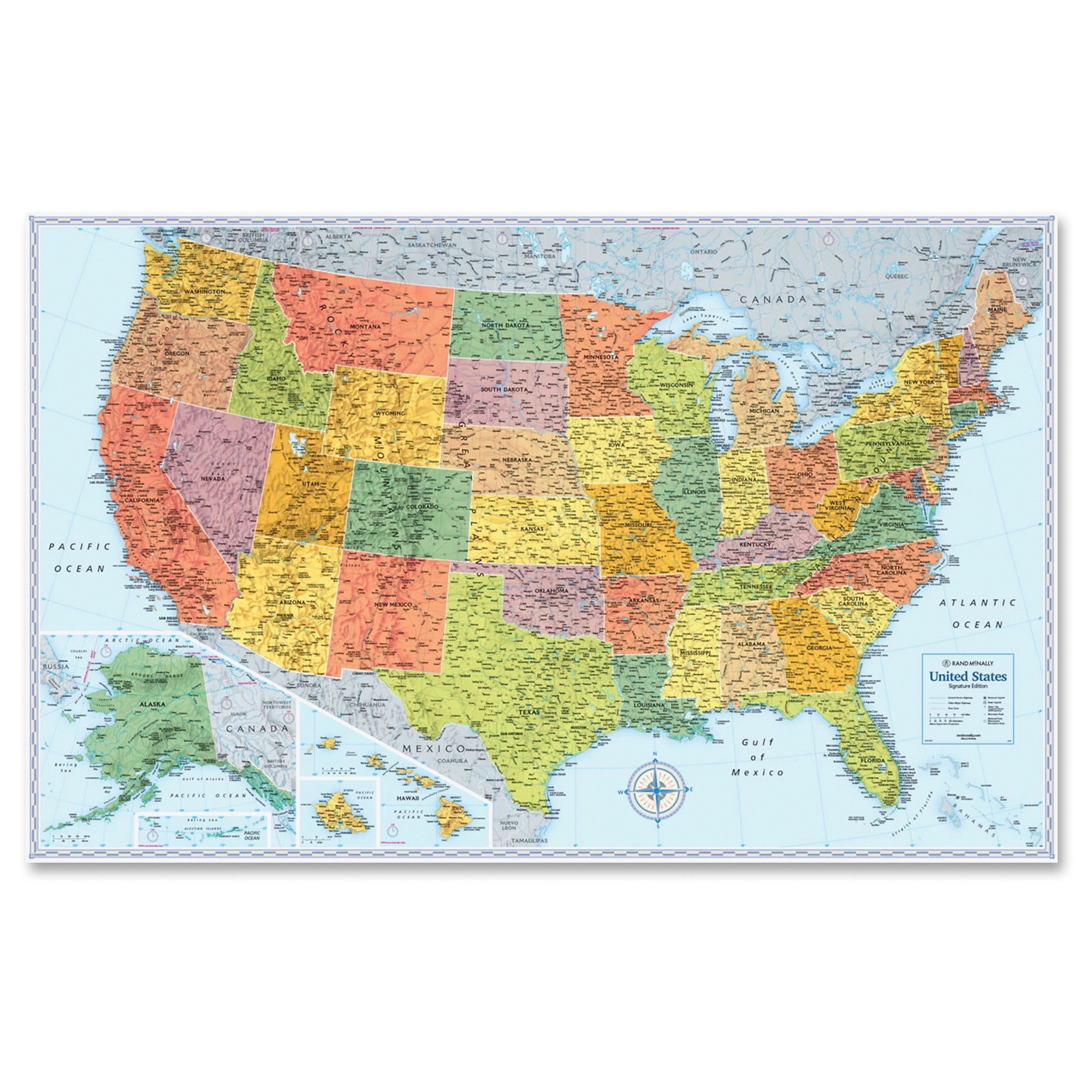 "Rand Mcnally U.s. Wall Map - United States - 32"" Width X 50"" Height (rm528012762)"