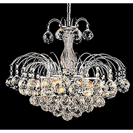 George Versailles European-Style Luxury 3 Light Pendant hanging Chandelier With Crystal Balls, Ceiling Light Fixture with Bulb (Versailles Rock Crystal)