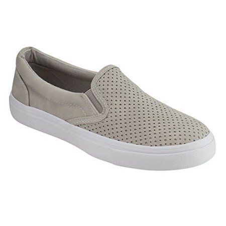 Women Fashion Athletic Shoes (Soda IF14 Women's Perforated Slip On Elastic Panel Athletic Fashion Sneaker, Color Clay Nubuck, (5.5))