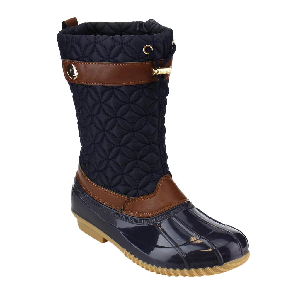 VIA PINKY EE07 Women's Mid Calf Drawstring Side Zipper Duck Winter Boots by Winter Boots