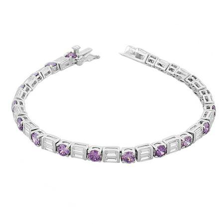 925 Sterling Silver Round Baguette White Multicolor CZ Classic Tennis Bracelet ()