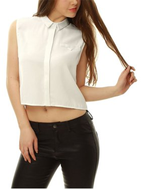 18733d08934f Product Image Allegra K Women's Hidden Placket Crop Sleeveless Shirt