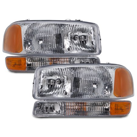 1999-2006 GMC Sierra/2000-2006 Yukon 4-Piece Headlights Driver Left Passenger Right Headlamps Pair Assembly GM2502188 & GM2503188