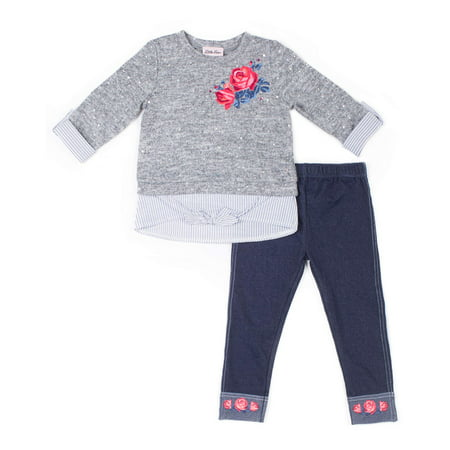 Little Lass Disco Dot Layered Sweater & Knit Denim Jeans, 2-Piece Outfit Set (Baby Girls & Toddler Girls)