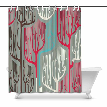MKHERT Colorful Stylized Trees Bathroom Shower Curtain 60x72 Inch