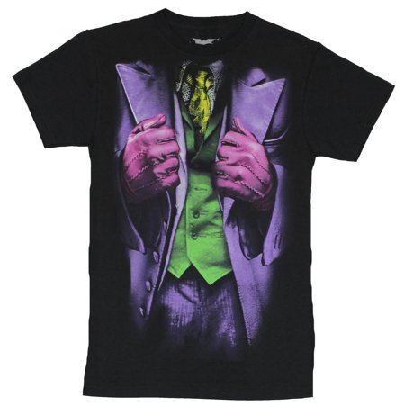 Batman (DC Comics) Mens T-Shirt  - Joker (of the Dark Knight) Costume Front (Small,