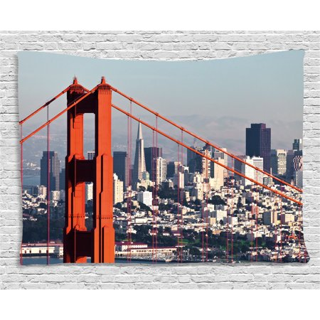 United States Tapestry  San Francisco Bridge And Cityscape Metropolis Financial District  Wall Hanging For Bedroom Living Room Dorm Decor  80W X 60L Inches  Orange Baby Blue White  By Ambesonne