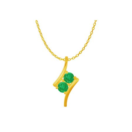 2 Stone Emerald Freeform Pendant in 14K Yellow Gold - image 1 de 2