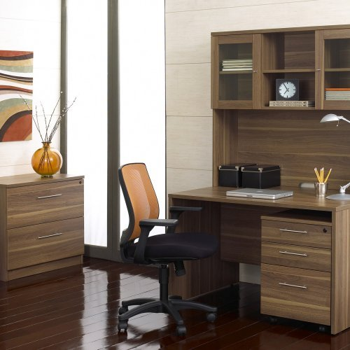 Jesper Computer Desk and Hutch with Optional Filing Cabinets and Chair