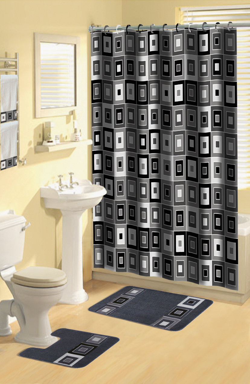 Home Dynamix Boutique Deluxe Shower Curtain And Bath Rug Set BOU 7 Blocks Black 17 Piece
