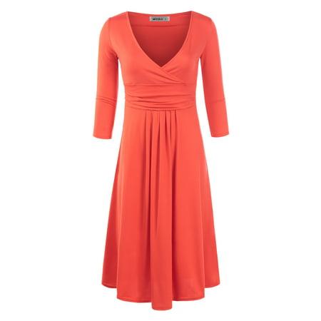 Doublju Women\'s Long Sleeve Ethnic Loose Fit Shift Tunics Dress CORAL 3XL  Plus Size