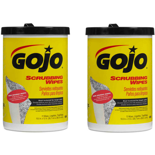 GOJO Scrubbing Wipes, 72 sheets, (Pack of 2)
