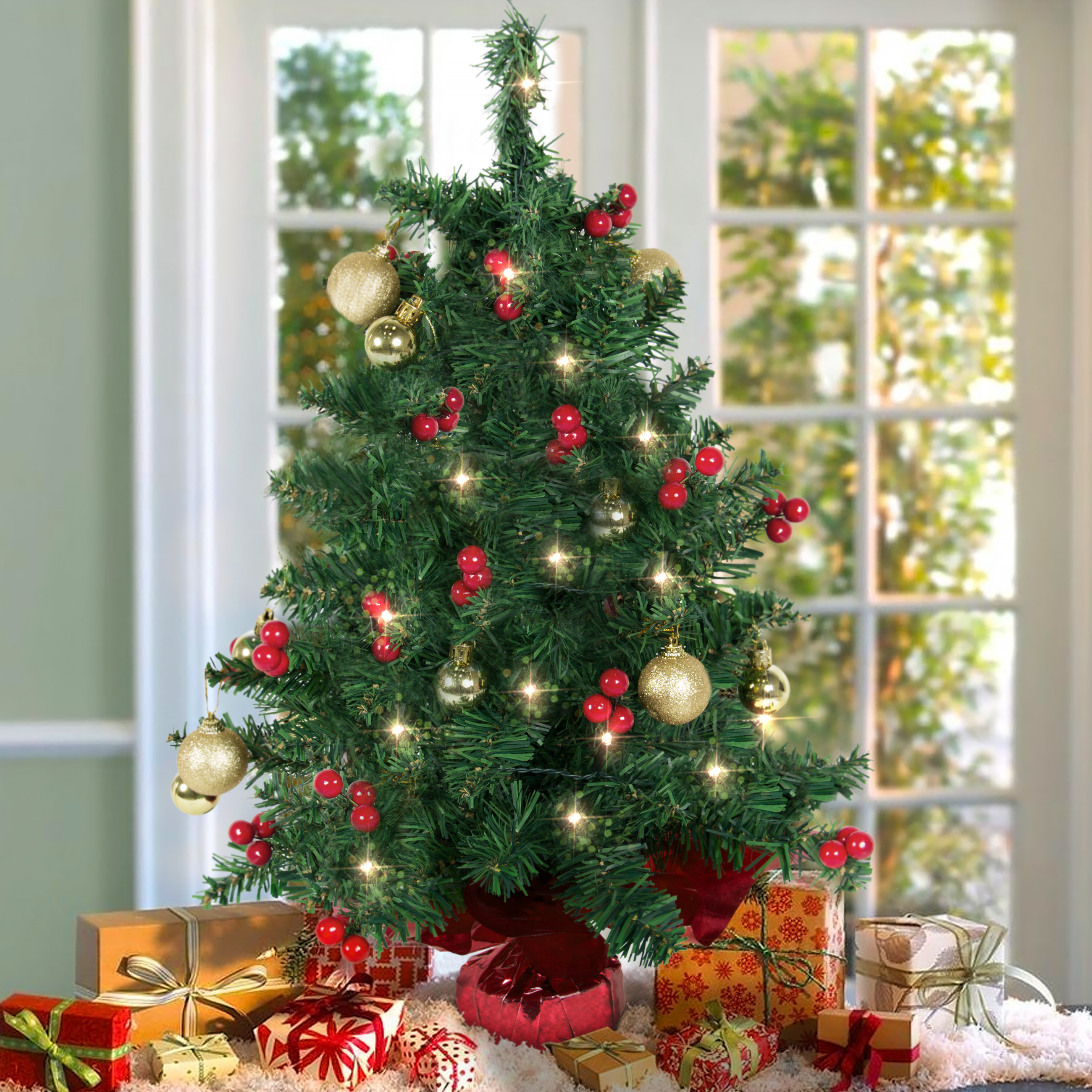 "Best Choice Products 22"" Tabletop Battery Operated Christmas Tree w/ UL Certified Lights, Red Berries, Gold Ornaments"