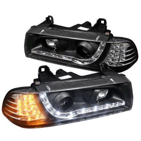 Spec-D Tuning For 1992-1998 Bmw E36 M3 Led Projector Headlights Amber Black 1992 1993 1994 1995 1996 1997 1998