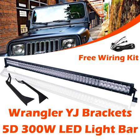 Omotor jeep wrangler yj light bar 5d 300w cree led work light bar omotor jeep wrangler yj light bar 5d 300w cree led work light bar with windshield mounting aloadofball Images