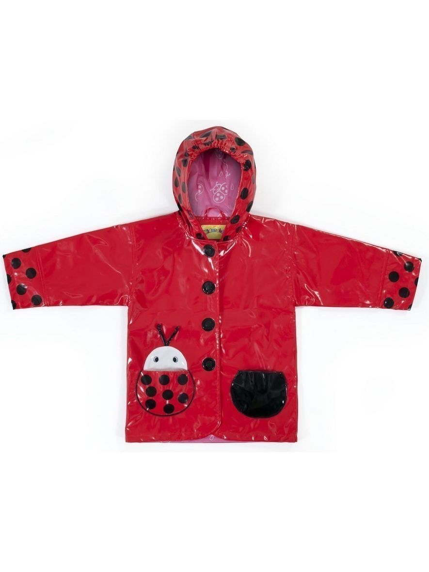 Kidorable Baby Girls Red Black Lady Bug Pocket Hooded Rain Coat 12-18M