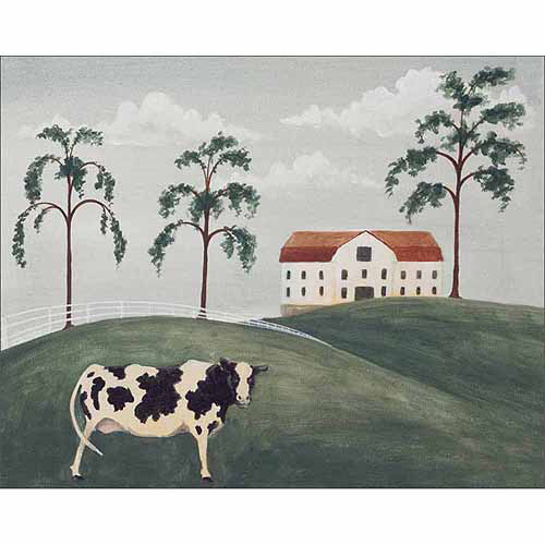 Folk Primitive Americana Home Farm Cow Landscape Painting Green & Grey Canvas Art by Pied Piper Creative