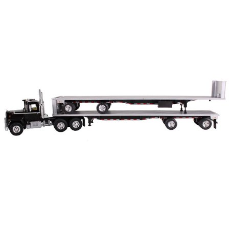 Mack R Truck Black With Two 48ft Flatbed Trailers Stacked 1/64 Diecast Model by First