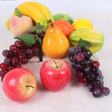 Realistic Fake Beard (OHSAY USA 12PCS Artificial Fruits Plastic Realistic Looking Mixed Fruits Apples Grapes Lemons Simulation Fake Decorative Fruits Display Creative Home Decorations Teaching and Photography)