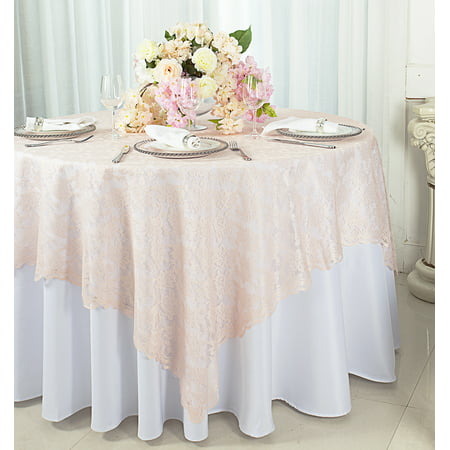 Wedding Linens Inc. 72 in x 72 in Lace Table Overlays, Lace Tablecloths Square, Lace Table Overlay Linens, Lace Table Toppers for Wedding Decorations, Events Banquet Party Supplies (1pc) - Blush Pink (Square Table Cloth Lace)