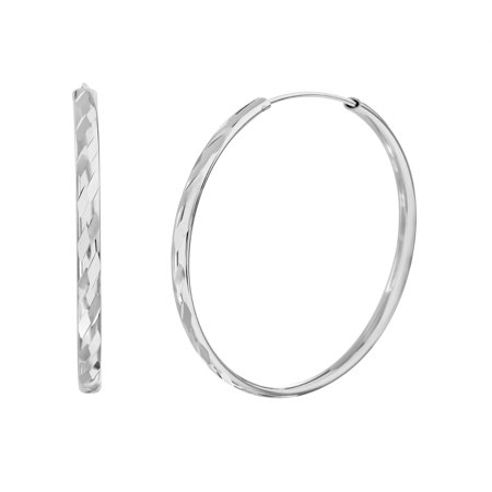 Bliss Women's Polished Diagonal Stripe Design Round Push In Hoop Earrings in Rhodium Plated Sterling (Polished Diagonal Stripe)