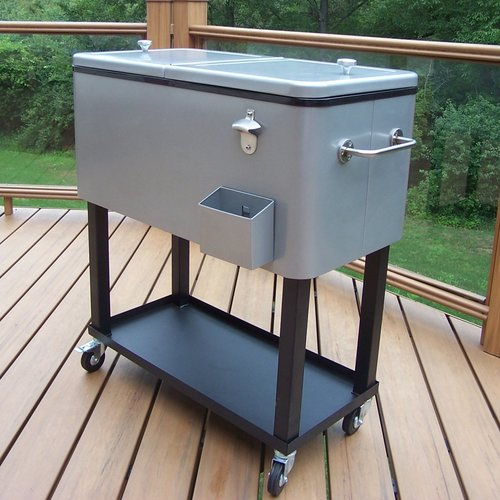 Captivating 80 Qt. Steel Patio Cooler Cart Image 5 Of 15