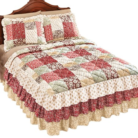 Worthington Patchwork Quilted Ruffle Skirt Lightweight Bedspread, King, Rust ()