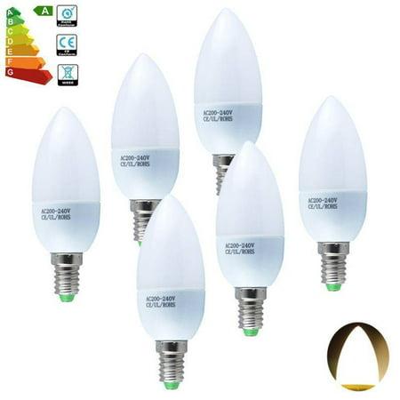 6 SES Small Edison Screw Cap E14 LED Candle Bulbs Day Warm White Light 3W (Rzilla Day Bulb)