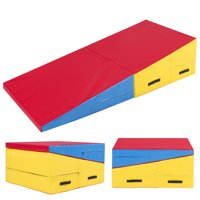 Best Choice Products 60x30x14in Folding 2-Panel Foam Cheese Wedge Incline Gym Mat for Tumbling, Aerobics, Cheer, Dance w/ Handles - Multicolor