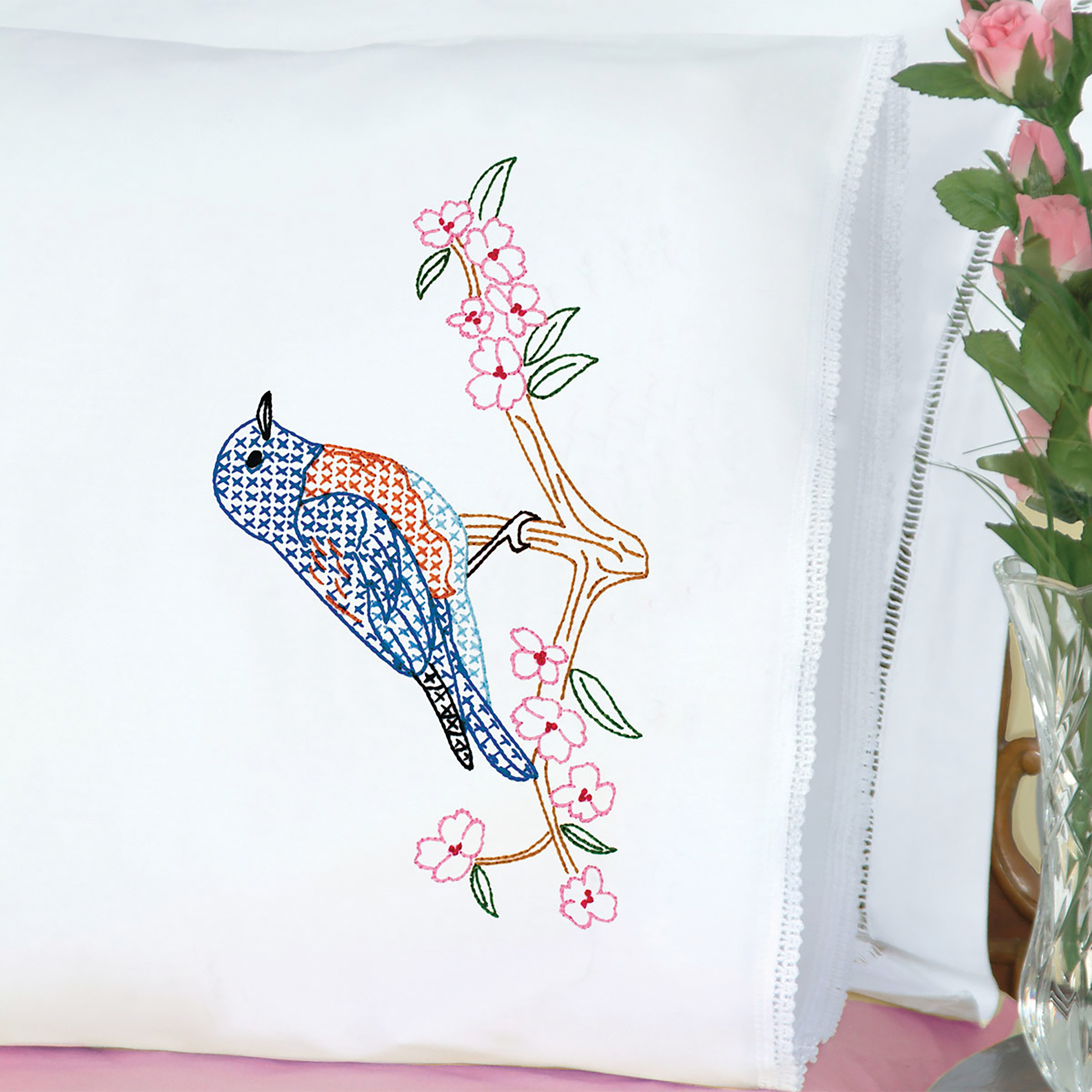 Jack Dempsey Stamped Pillowcases W/White Lace Edge 2/Pkg-Bluebird