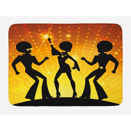 70s Party Bath Mat, Dancing People in the Disco Night Club Afro Hair Style Gold Colored Bokeh, Non-Slip Plush Mat Bathroom Kitchen Laundry Room Decor, 29.5 X 17.5 Inches, Black Gold Yellow, Ambesonne - Colored Afros