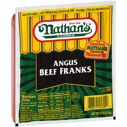 Nathan's Famous Angus Beef Franks, 6 count, 11 oz