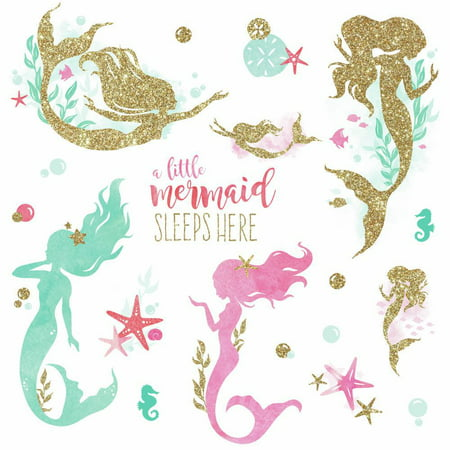 Ocean Decal Set - Roommates Mermaid Peel and Stick Wall Decals with Glitter pink, Turquoise, Golden Ocean Stickers