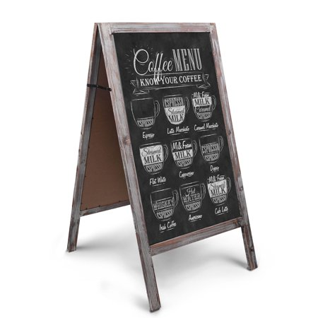 A-Frame Chalkboard Sign Rustic Wooden Sidewalk Easel Chalk Stand - 41 Freestanding Sturdy Sandwich Board Double Sided Message Display - Vintage Torched Restaurant Chalkboard for Cafe & Bar - Chalkboard Sign