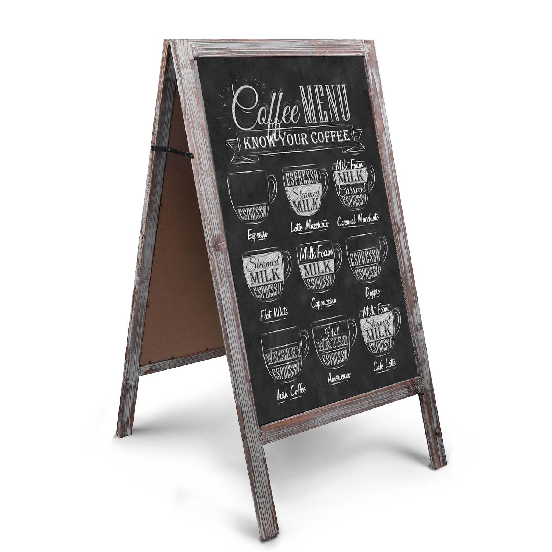 "A-Frame Chalkboard Sign Rustic Wooden Sidewalk Easel Chalk Stand - 41"" Freestanding Sturdy Sandwich Board Double Sided Message Display - Vintage Torched Restaurant Chalkboard for Cafe & Bar"