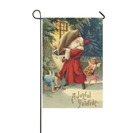 MYPOP Santa's Delivery with Angel Garden Flag Banner 12 x 18 inch