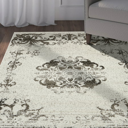 LR Home Infinity 5x7 Cream Brown Distressed Floral Border Medallion Indoor Transitional Area Rug Brown Transitional Area Rug