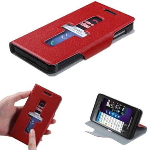 Insten Red Premium Book-Style MyJacket Wallet Case with Package For BLACKBERRY Z10