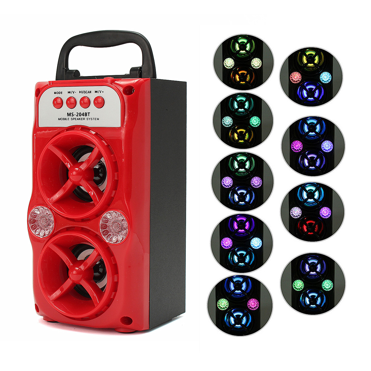 Portable Wireless bluetooth Stereo Party Speaker Rechargeable With stereo speaker USB/TF/AUX/FM Radio LED Indoor Outdoor Home Music Player Super Bass Red