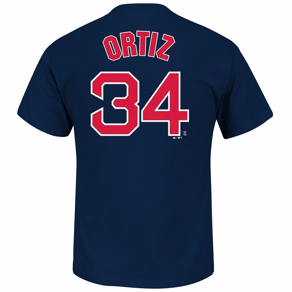 David Ortiz Boston Red Sox MLB Majestic Men's Navy Blue Name & Number Player Jersey T-Shirt