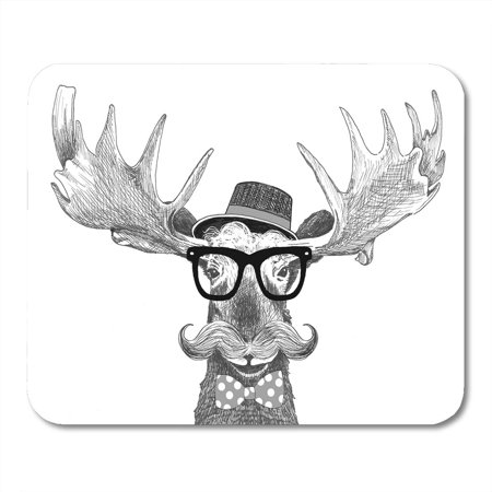 KDAGR Hipster Glasses on Moose Hat Big Handlebar Mustache and Polka Dot Bow Tie Cartoon Statement Fun is Mousepad Mouse Pad Mouse Mat 9x10 inch](Glasses And Mustache)