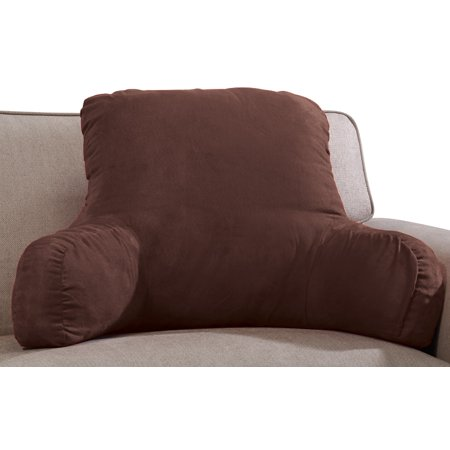 "Miles Kimball Backrest Pillow with Firm Support Arms, 20"" x 31"" x 14"" – Faux Suede Polyester Brown Fabric with Dense Foam Interior for Proper Back Support, Size Fits Adults or"