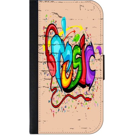 Graffiti Wall Art Street Style Music Print Design - Wallet Style Phone Case  with 2 Card Slots Compatible with the Standard Samsung Galaxy s6 Universal