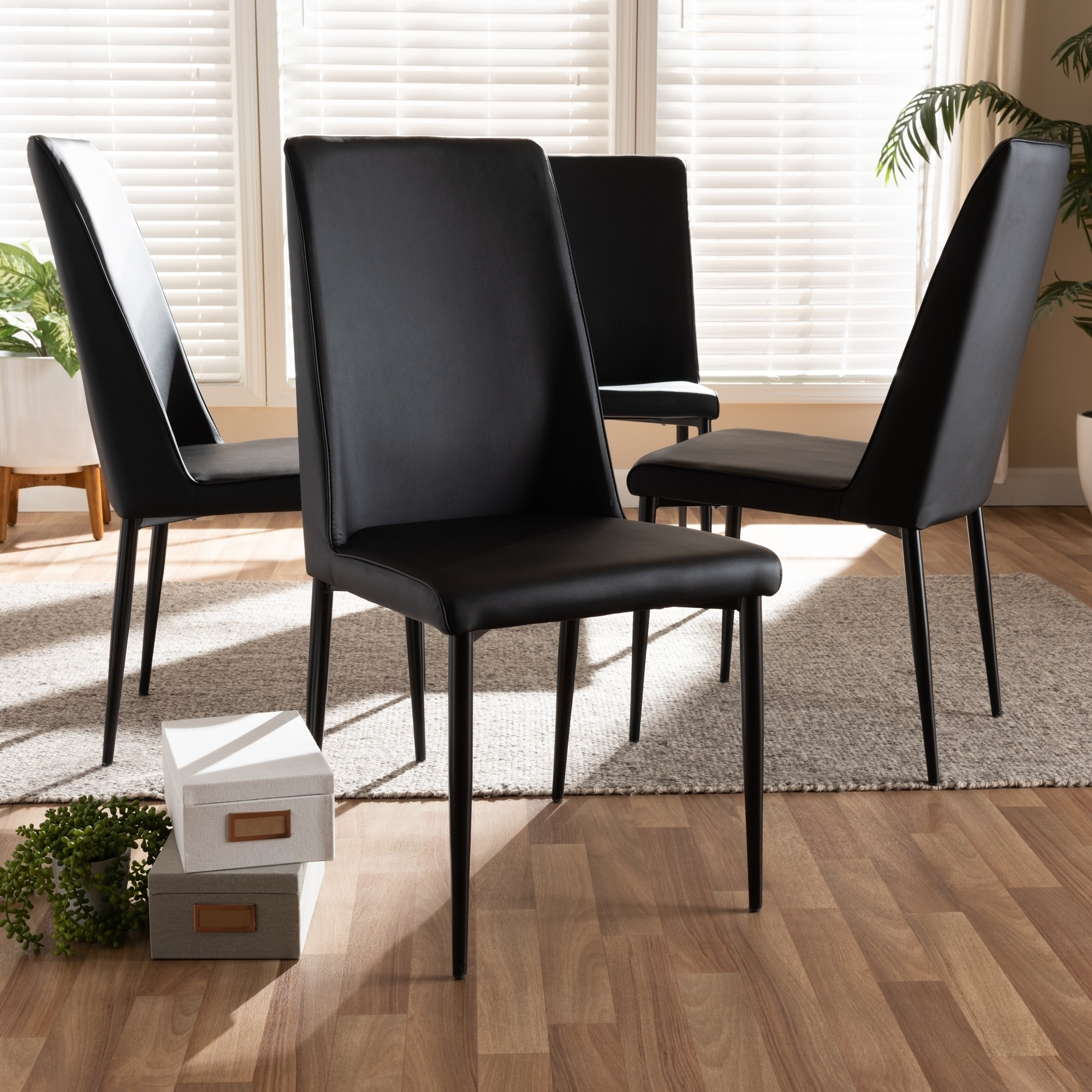 Baxton Studio Modern Faux Leather Dining Chair 4-Piece Set by  White