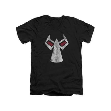 Batman DC Comics Bane Mask Adult V-Neck T-Shirt Tee (Bane 90s Batman)