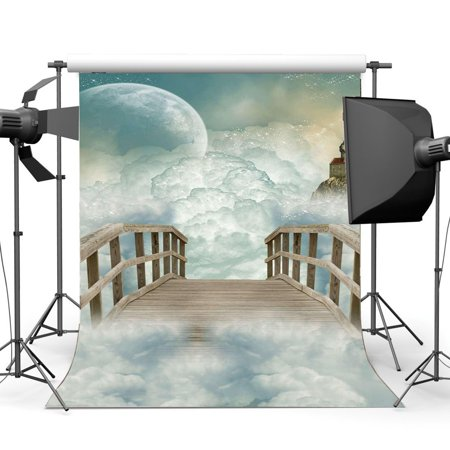 Wooden Fairy Castle - ABPHOTO 5x7ft Photography Backdrop Castle Dreamy World Fairy Tale White Cloud Wooden Bridge to Heaven Fantasy Landscape Backdrops Seamless Newborn Baby Toddlers Lover Portraits
