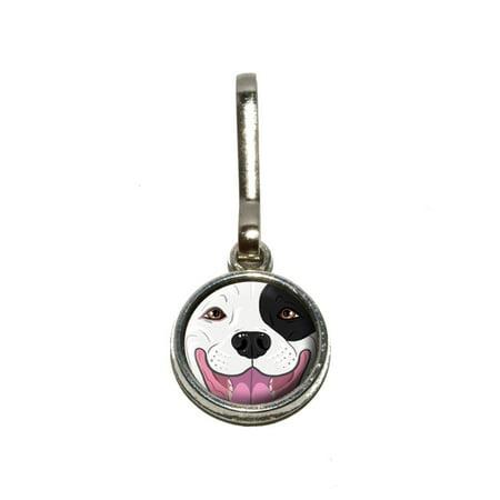 Black and White Pit Bull Face - Pitbull Dog Pet Charm Zipper Pull