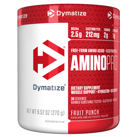 Dymatize Amino Pro, BCAAs and Electrolytes, Fruit Punch, 9.5