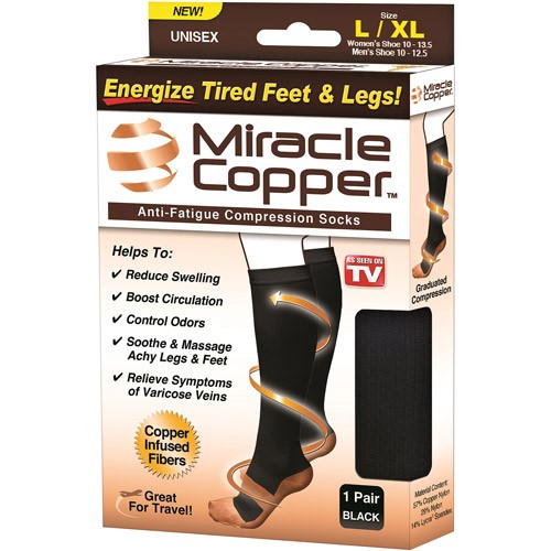 As Seen on TV Miracle Copper, Copper- Infused Compression Socks, L/XL