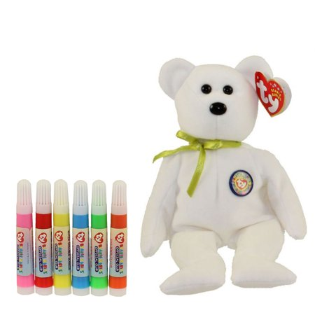 TY Beanie Baby - COLOR ME TEDDY BEAR w/ markers (Green Ribbon) (7.5 inch) - Baby Green Color